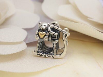 NEW Authentic PANDORA Silver 14k Gold DASHING Sleigh Charm 791207 RETIRED