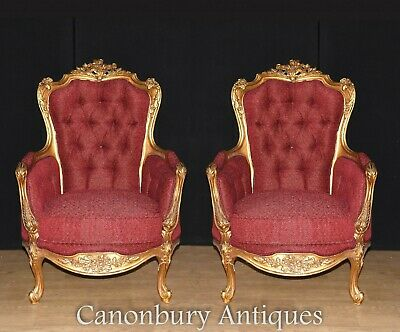 French Gilt Arm Chairs - French Empire Fauteuils