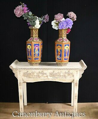 Pair Imari Porcelain Vases - Painted Chinese Urns