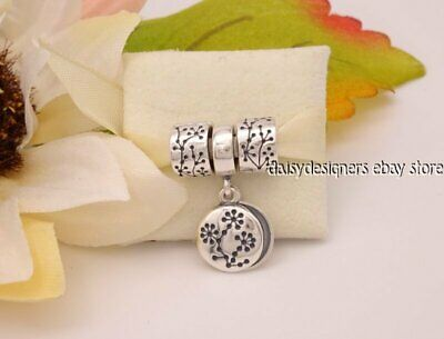 NEW Authentic Pandora Silver LUCERNE CLIP Pair + Dangle Charm RARE RETIRED