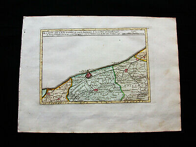1749 VAUGONDY - orig. map of NETHERLANDS, HOLLAND, BELGIUM, FLANDERS, GRAVELINS