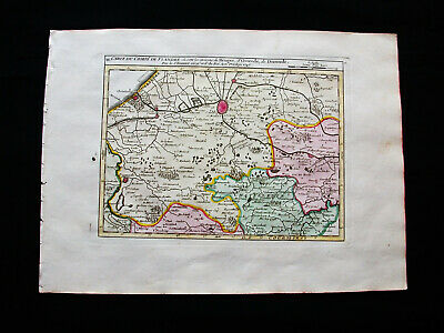1749 VAUGONDY - orig. map:NETHERLANDS, HOLLAND, BELGIUM, FLANDERS BRUGES OSTEND