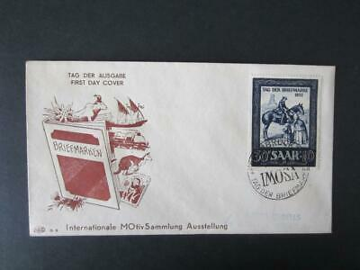 Saar . Michel 316 - 1952 horse semipostal first day cover CAT. 50 EUROS[495