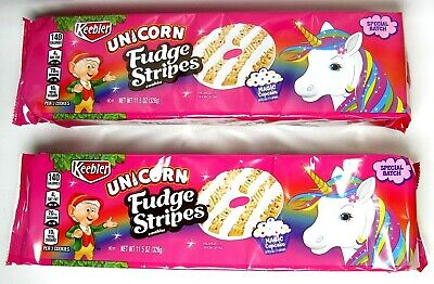Lot Of 2 Pk Keebler Unicorn Fudge Stripe Limited Edition Cookies Magic Cupcake