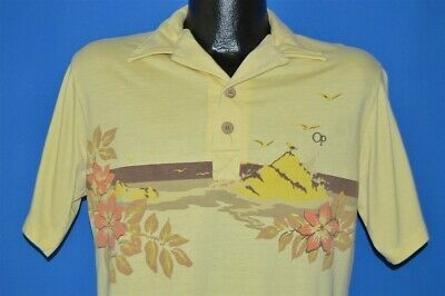 1e37837f7 vintage 80s OP OCEAN PACIFIC SURF WAVE FLOWERS BEACH YELLOW POLO SHIRT  MEDIUM M