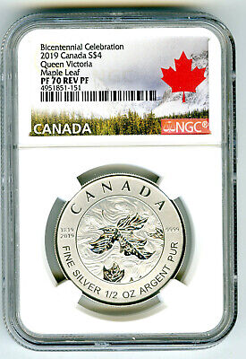 2019 $4 Canada 1/2 Oz Ngc Pf70 Silver Maple Leaf Queen Victoria Reverse Proof