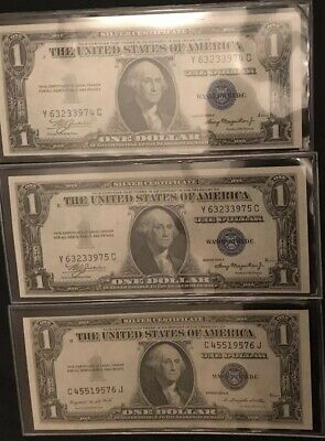 1935A Silver Certificates (3) Consecutive Notes AU/CU