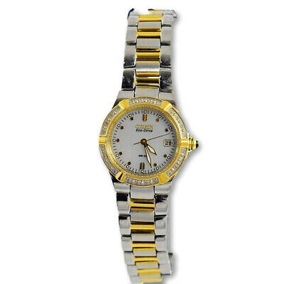Citizen Eco Drive Riva Women's Diamond Gold Tone Stainless Watch EW0894-57D