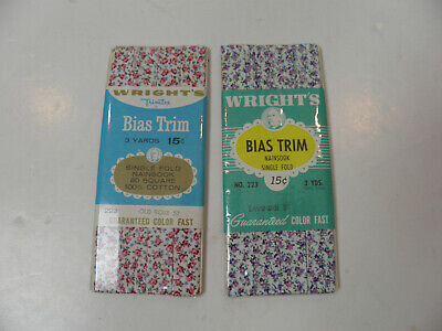 2 NOS Packages Wright's Cotton Bias Trim Tape - Floral Prints - 3 Yards Each