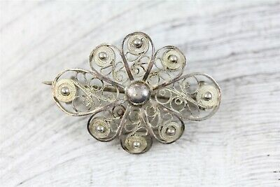 Vintage  Sterling Silver 925  Filigree Brooch Pin Hand Made Beautiful N4356
