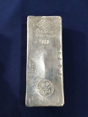 Mocatta Metals Corp Vintage Silver Bar Old Chunky Styled Poured Ingot 100 Ounces