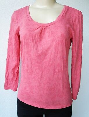 NTCO ROUND-NECK LONG SLEEVE COTTON TOP NEW S M  RED CORAL MADE IN USA