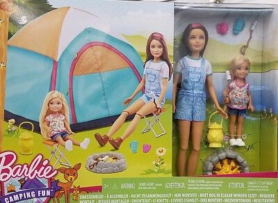 Barbie Camping Fun TENT with Skipper and Chelsea dolls- 2 doll playset BRAND NEW