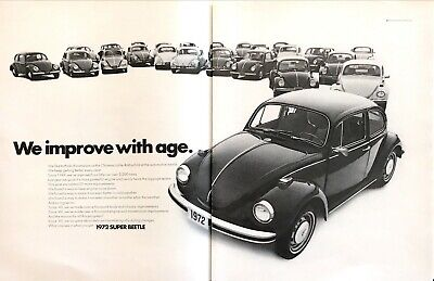 "1949-1972 VW Volkswagen Super Beetle photo ""Improves with Age"" 2-page print ad"