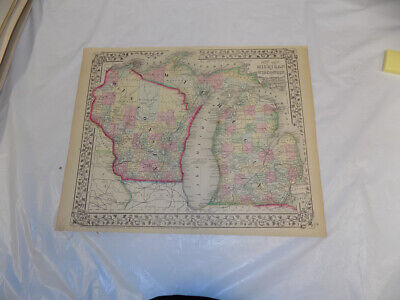 1867 Antique COLOR Mitchell Map of WISCONSIN & MICHIGAN