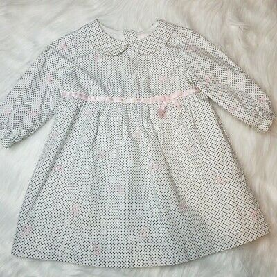 167f6cae13627 JANIE AND JACK Baby Girl Polka Dot Pink Bow Easter Dress 6-12 Months ...