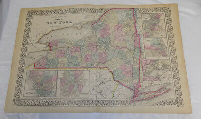 1867 Antique COLOR Mitchell Map of NEW YORK