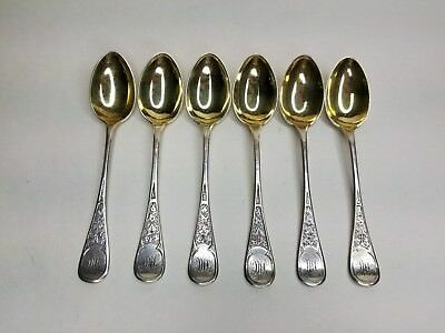 6 Tiffany Sterling Silver GW Demitasse Coffee Spoons in Ivy pattern c.1870