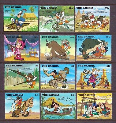 Disney-Gambia 1995 Cowboys And Indians Complete Set Of 12 Sc1698/1709 Mnh (D17)