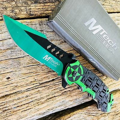 MTECH Tactical Rescue Spring-Assist Folding POCKET Knife | Mtech GREEN Star EDC