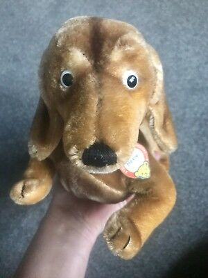 "Steiff Hexie Dachsund Dog Mohair 1960's 12"" Jointed Head Button & Chest Tag NR"