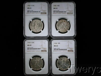 4 PIECE LOT 1941-D 1942 1944-S 1944 LIBERTY WALKING HALF DOLLARS 50c NGC MS 63