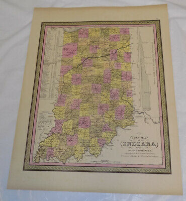1848 Antique COLOR Mitchell Map of INDIANA