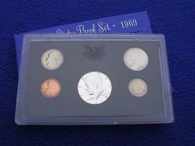 1969 US Mint Proof 5 Coin Set Uncirculated With Box