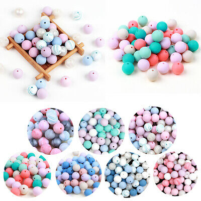 10PC Silicone Beads Baby Teether Beads Teething Bead Chewing Toy Necklace DIY