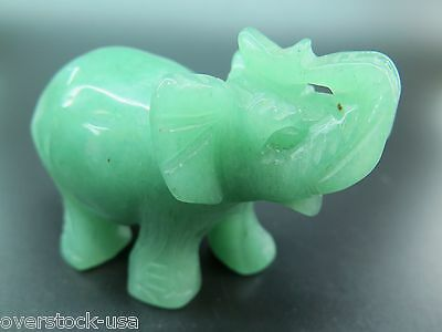 NEW 80mm Natural Chinese Aqua Jade Carved Elephant Statue