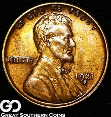 1931-S Lincoln Cent Wheat Penny, Lustrous RED, Solid Gem BU++ RD Better Date!