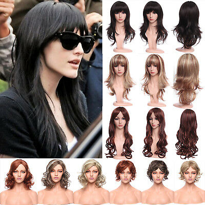 Women Ladies Full Wig Long Curly Straight Pastel Blonde Brown Synthetic Wigs