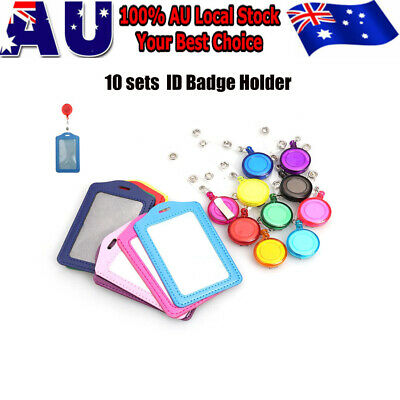 Set 10x Retractable Lanyard ID Badge Card Holder Business Pass Security Card Tag