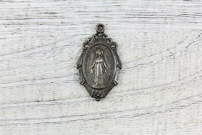 Art Deco Miraculous Mary Sterling Silver Medal Pendant Religious Catholic N4683