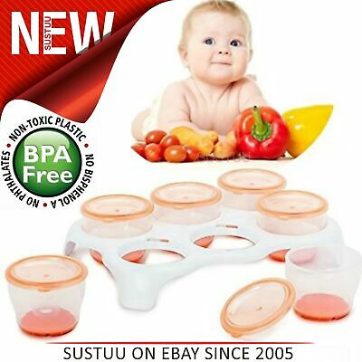 Vital Baby Food Storing Freezer Pods/ Tray│Twist n Lock Microwave Safe Pots x 6