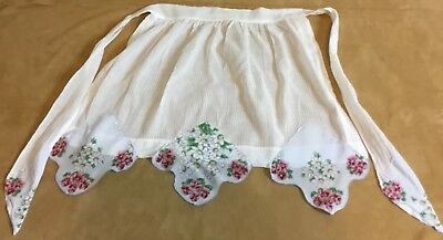Vintage Hand Made Apron, White, Cotton, Hanky Accents, Printed Flower Designs