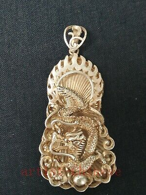 Collected China Tibet Silver Sculpture Dragon Statue Pendant Necklace Decoration