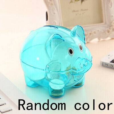 Kids Saving Pig Clear Plastic Piggy Bank Coins Cash Money Toy Box