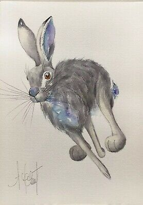 HARE ORIGINAL(Not a Print) A4 Watercolour Painting by A.Jolivet /Present / Gift