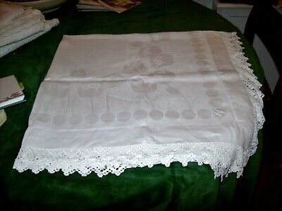 "Art Nouveau White Damask Linen Tea Table Cloth,Hand Crochet Lace Borders-42"" Sq"