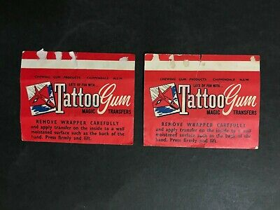 SCANLENS TATTOO GUM 1950's LOT OF 2 WRAPPERS - DOG & MASK