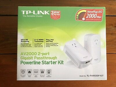 TP-LINK AV2000 Gigabit Passthrough Powerline Starter Kit - BRAND NEW SEALED.