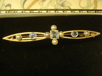 Beautiful Antique Art Deco 15CT Gold; Ceylon Sapphires & Seed Pearls Set Brooch