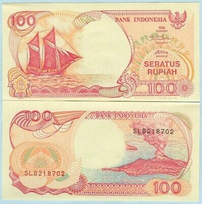 "Indonesia 1999 100 Rupiah Banknote "" Boat "" P127g UNC - BN555 NTO8 33"