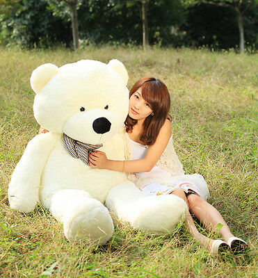 "31.4"" Giant Beige Teddy Bear Plush Huge Soft Cotton Romantic Xmas Party Toy B171"