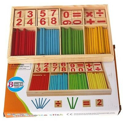 Baby Early Learning Wooden Numbers Stick Mathematics Counting Math Toys Game DP