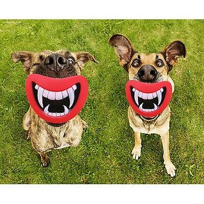 Pet Mouth Dog Toys Puppy Squeak Novelty Chewing Funny Joke Prank Teeth DP