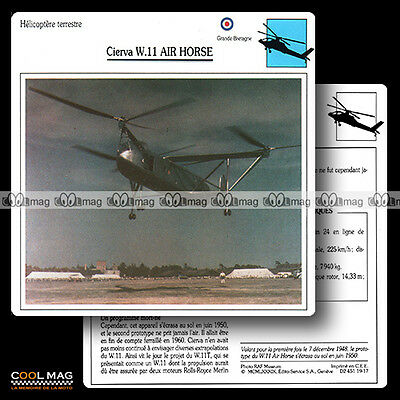 #019.17 CIERVA W 11 AIR HORSE (Hélicoptère) - Fiche Avion Airplane Card