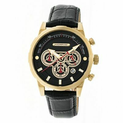 Morphic M60 Series Chronograph Leather-Band Watch wDate - GoldBlack