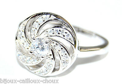Ring swirl old style solid silver 925 zirconium white T 52 58 jewel